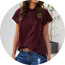 wine red lace shirts