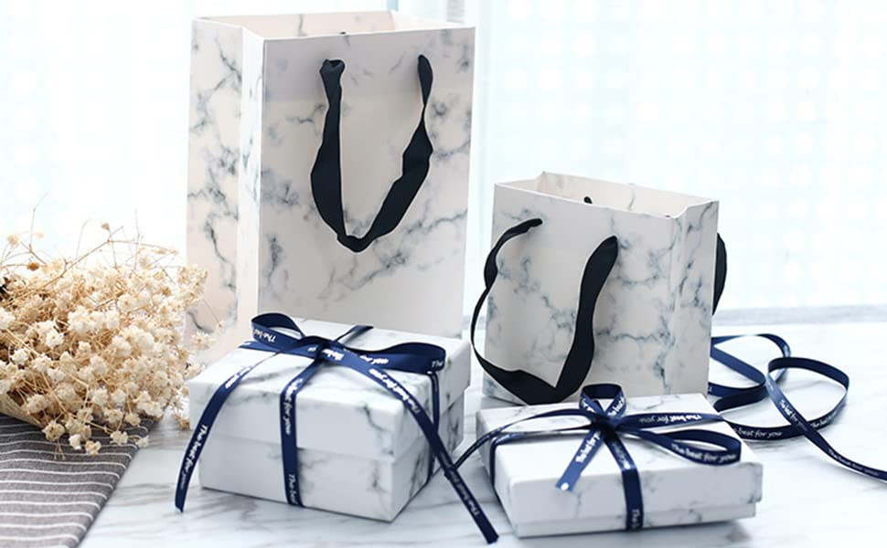 White Marble Effect Rectangle Cardboard Jewellery Pendant Boxes Gift Boxes with Sponge Insert
