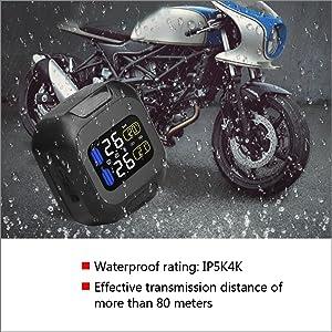 Qiilu TPMS sans Fil syst/ème de Moniteur de Pression des pneus de capteur TPMS sans Fil de Moto avec 2 capteurs externes