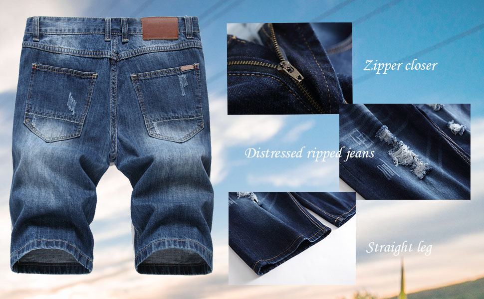 Lavnis Men S Casual Denim Shorts Classic Fit Distressed Summer Fashion Ripped Short Jeans At Amazon Men S Clothing Store