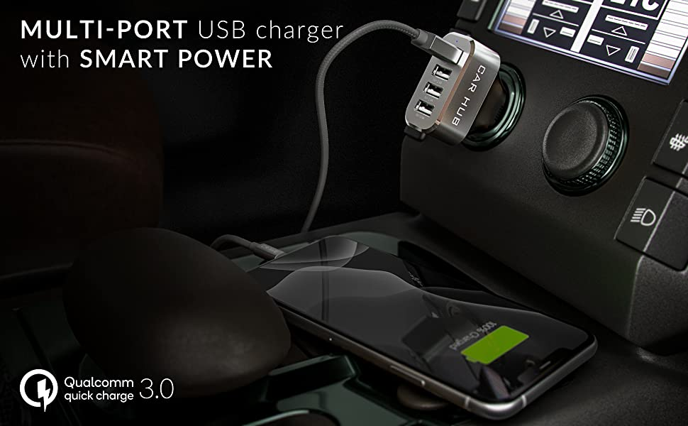 car charger 4 port quick charge fast charge rapid charge car truck boat 12V 18v 24v charger phone