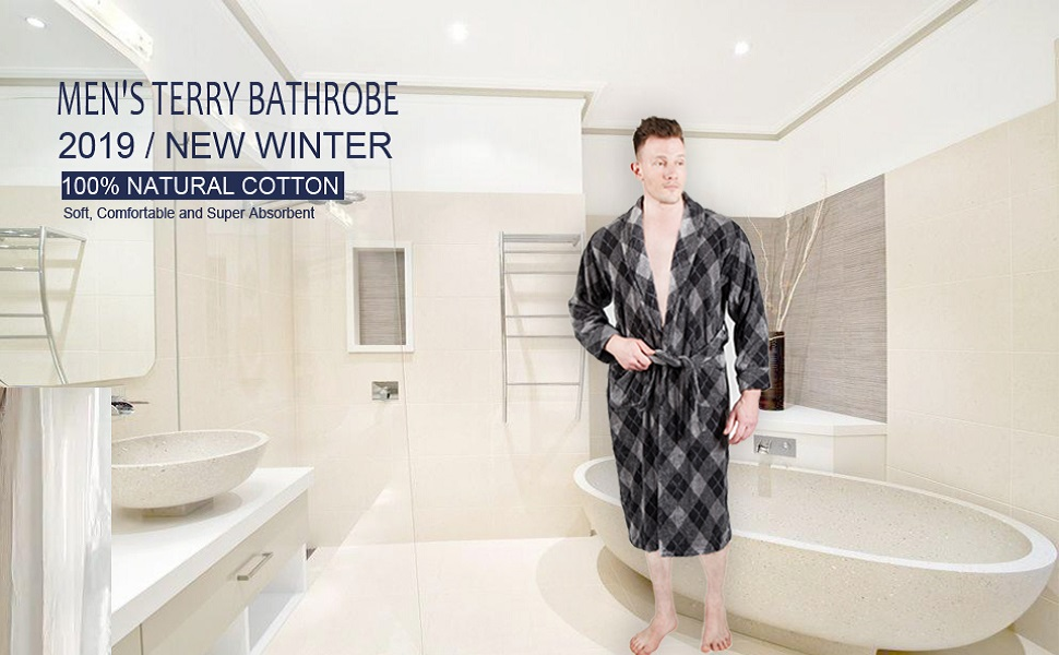 men's plaid bathrobe