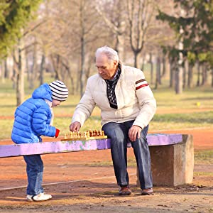 grandpa and grandchild playing games