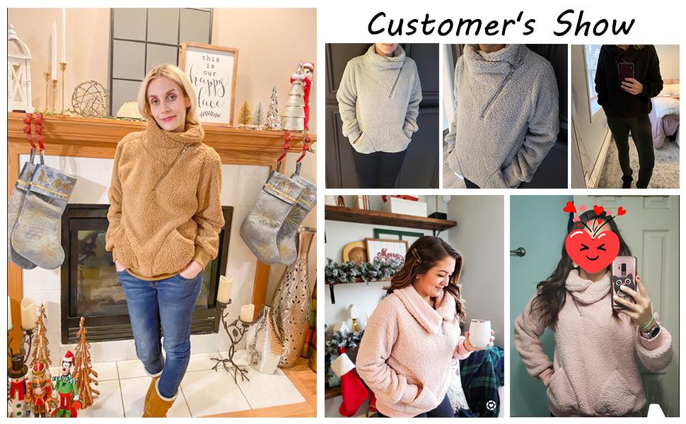 1/4 zip up lapel sherpa sweatshirt fuzzy pullover winter outweat