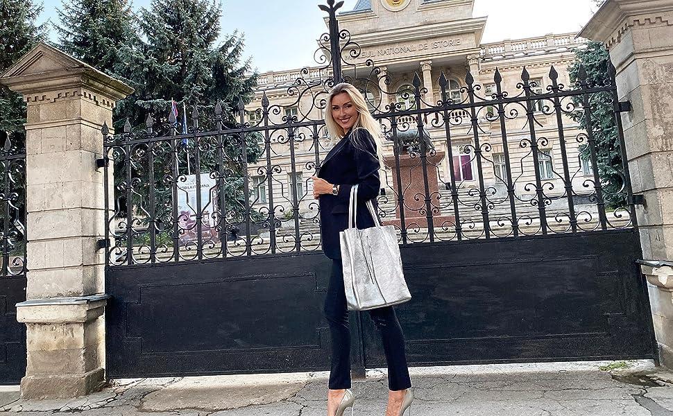 Skutari Shopper Vittoria Br Leder Shopper Damen