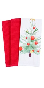 holiday winter merry christmas gift kitchen dish towel cotton terry tree