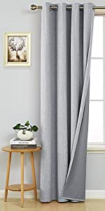 Thermal Insulated Blackout Curtains Window Grommet with Back Silver Coating for Living Room