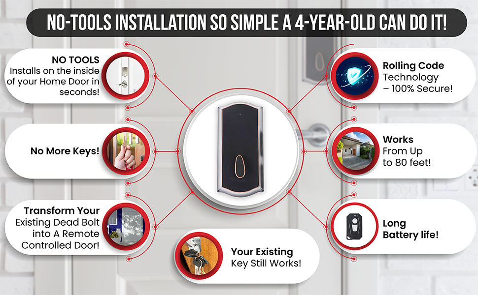 remote keyless instalock is patented, easy to install remote keyless entry system