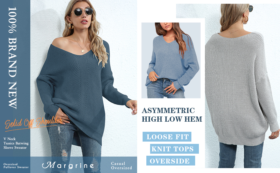Ladies Casual Elegant V Neck Off Shoulder Long Batwing Sleeve Pullover Tunic Sweater