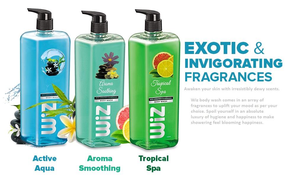 wiz exotic body wash shower gel