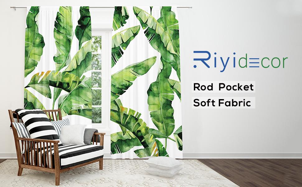 Riyidecor Tropical Palm Curtain Tree Leaf Rod Pocket Botanical Plant Banana Tree Nature Summer White