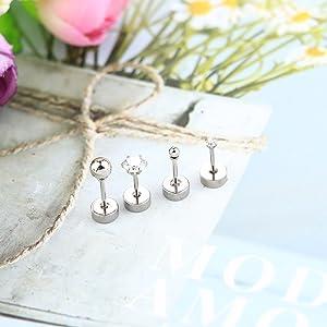Stud Earrings for Women Men Stainless Steel Tiny Barbell Ear Stud Piercing