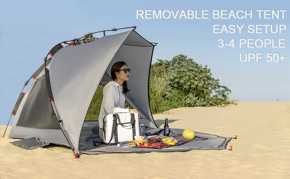 2-3 Person Beach Tent Sun Shelter - Portable Sun Shade Instant Tent for Beach with Carrying