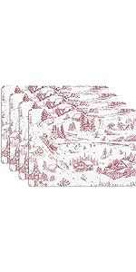 KAF Home Winter Village Toile Red Print Cork Backed 4 Piece Place Mat Set