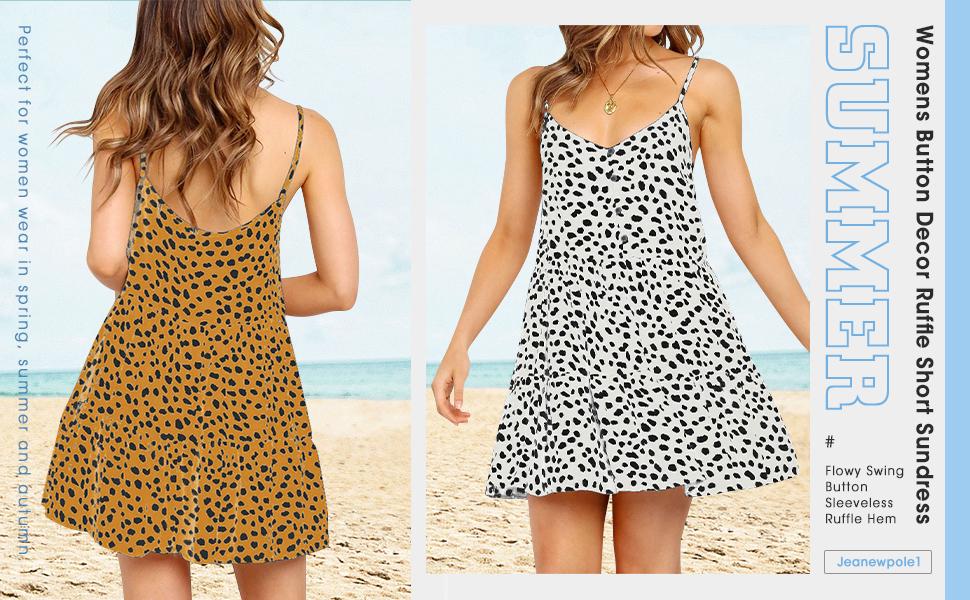 Leopard Party Mini Dress Spaghetti Strap Button Down Ruffle Flowy Summer Short Dress
