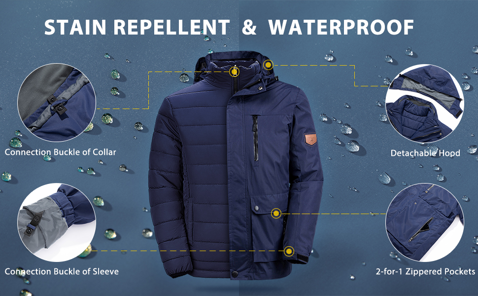 Wantdo Men's 3-in-1 Ski Jacket Interchange Snow Coat Waterproof Removable Liner