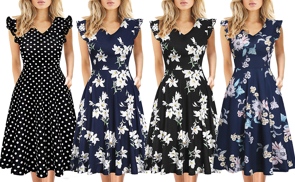 Women's Vintage Casual Round Neck Floral Tunic Work Party A-Line Swing Dress with Pockets
