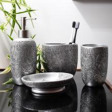 black bathroom accessories set
