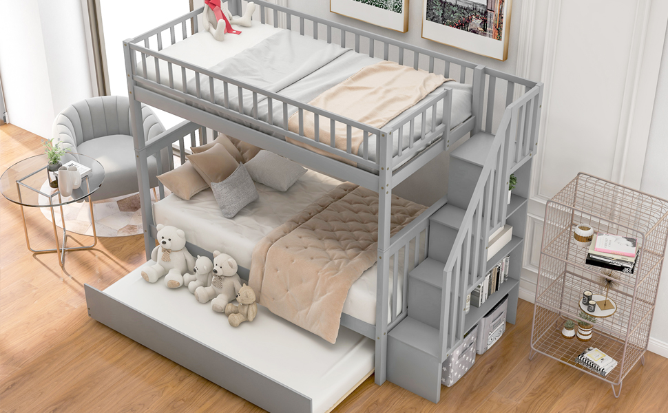 Wood Bunk Beds Twin Size with Full-Lenghth Guardrail