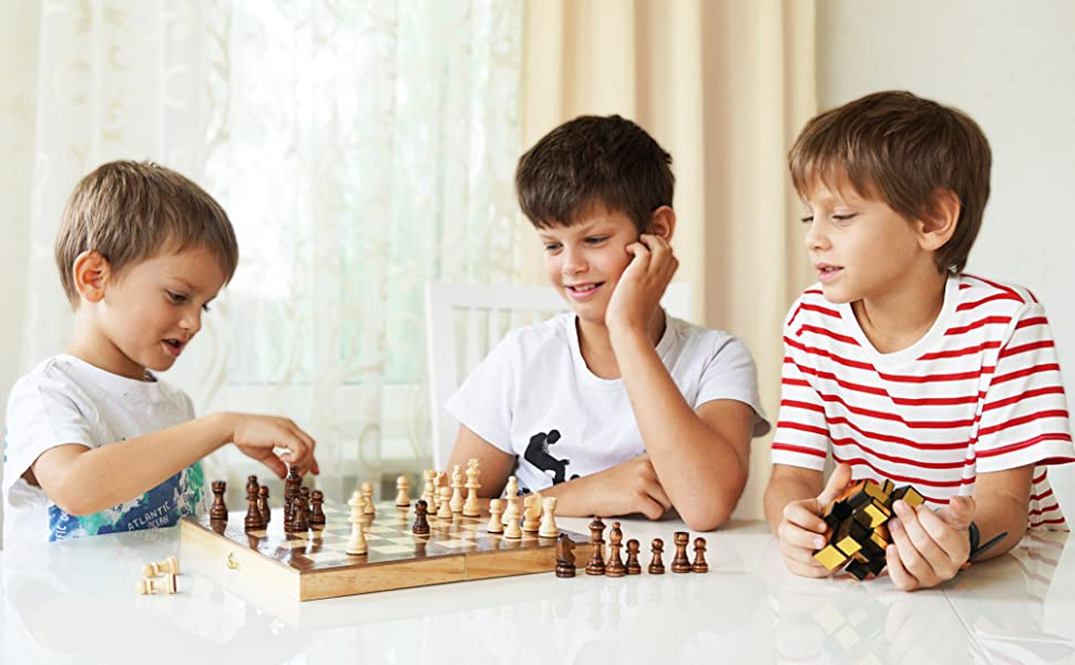 wooden chess set magnetic chess checkers sets board game foldable folding folded handcrafted wood