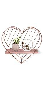 rose gold heart wall shelf
