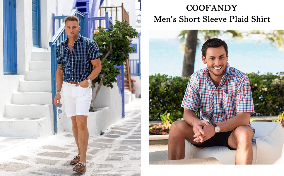 men's plaid dress shirts short sleeve check shirts
