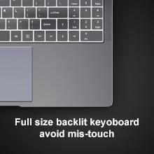Full size backlit keyboard