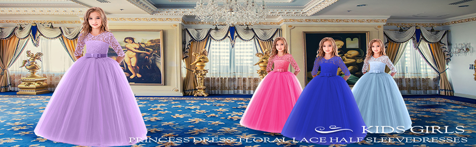 Flower Girl Bridesmaid Summer Elegant Toddler Girl Illusion Sequence Dress #18