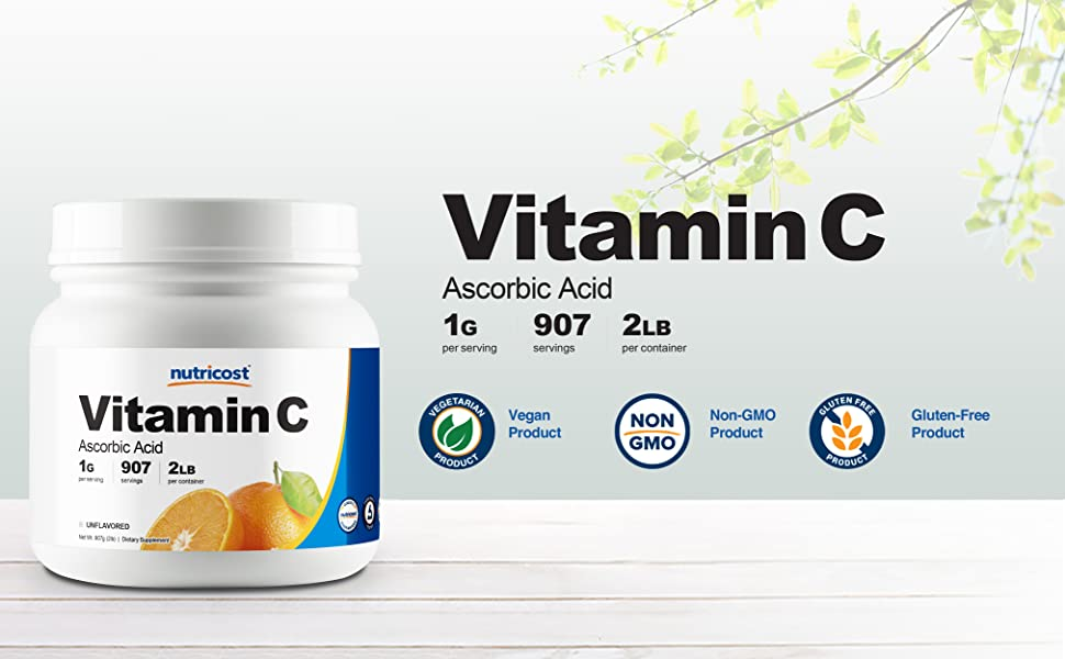 Vitamin C 2 Lbs Ascorbic Acid powder by Nutricost