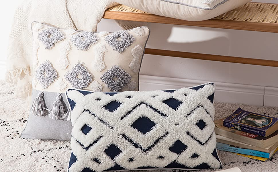 woven tufted boho pillow cases rectangle pillows cover with zipper soft  cozy home decor white blue