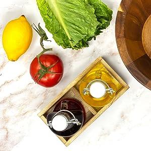Mason Jar glass oil vinegar cruet set dispenser caddy flip top salad dressing gift table kitchen