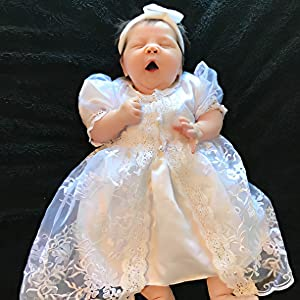 Yilaku Summer Baby Girls Dress Set Flower Christening Baptism Dress Formal Party Special Occasion Dresses for Toddler Girl
