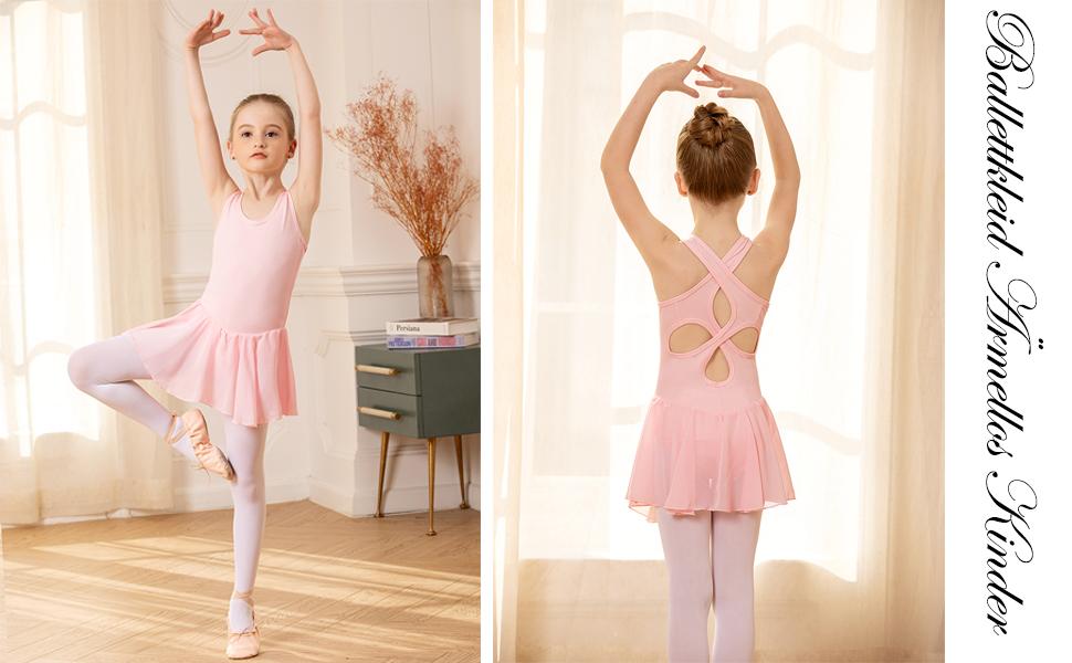 Bricnat Girls Ballet Dress Sleeveless Ballet Dress Childrens Dance Dress Ballet Leotard Dance Body with Skirt Size 120-160