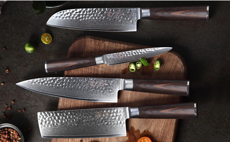 YARENH Cuchillo de Cocina Profesional,Set Cuchillos Cocina de Acero Damasco Japones con 4 Piezas,Mango de Madera Pakka,Cuchillo de Chef Ultra Filoso ...