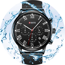 new mens everyday watch black and red second hand 30m water proof chrono work business wrist watch