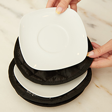 Padded dish dividers to prevent broken plates and bowls