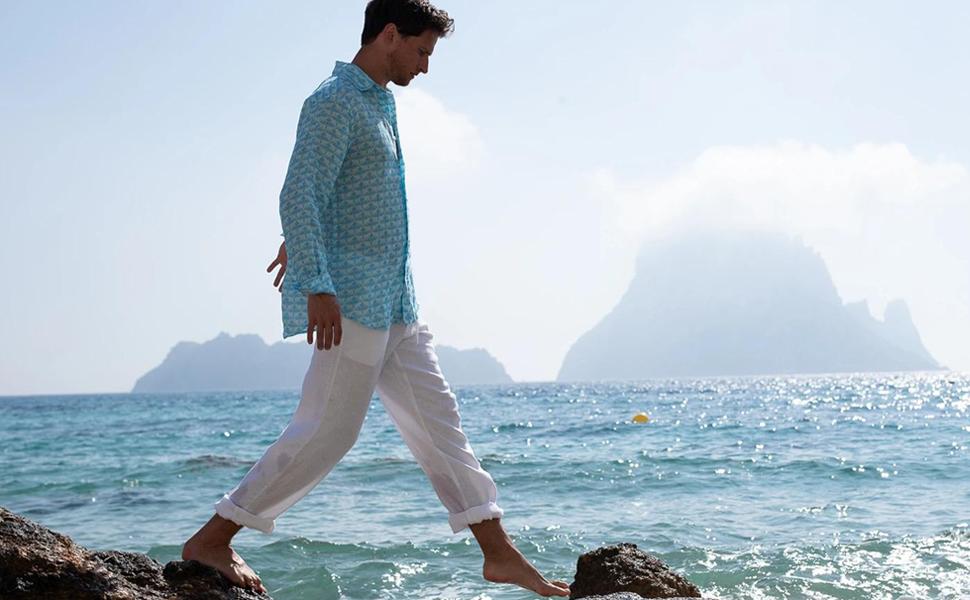 men linen pants beach