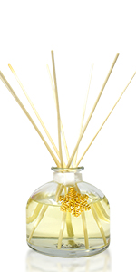 LOVSPA Round Glass Reed Diffuser Oil Bottle with sticks. Air Freshener for Large Rooms 4.5 ounces