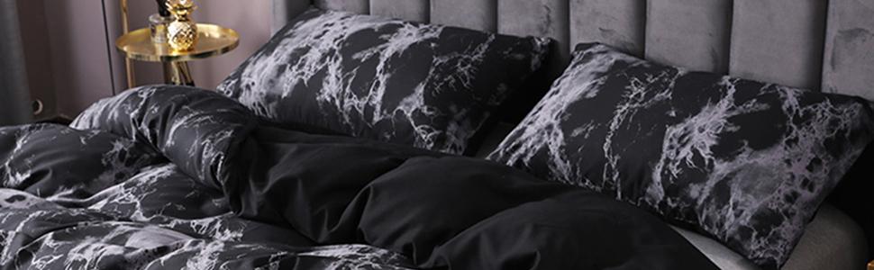 Black and White Marble Bedding Set