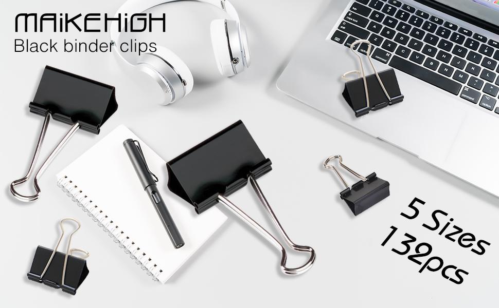 MAIKEHIGH 72 Pezzi FoldBack Binder Clips Carta per metallo Binder Clamps per Note Letter Paper Clip Office Supplies 5 formati assortiti Nero Clip Doppio