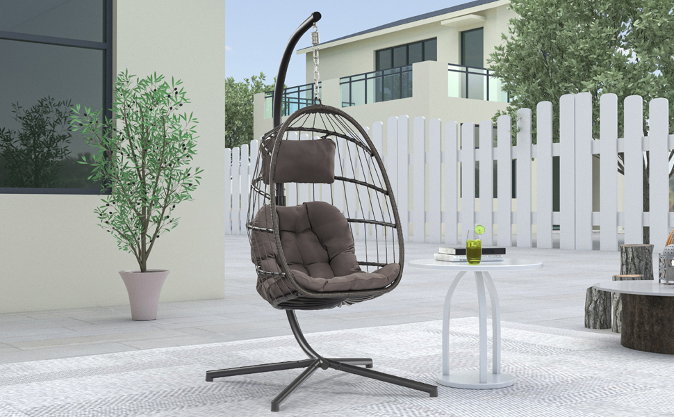 Hanging egg chair in the backyard