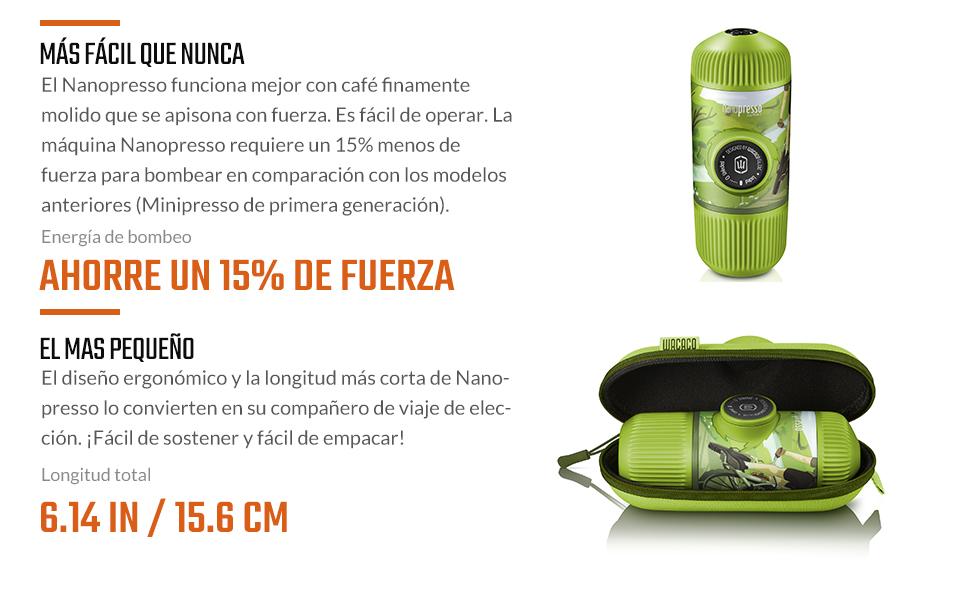 wacaco Nanopresso Cafetera Espresso Portátil Incluida con Estuche ...