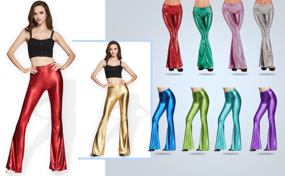 Women/'s Metallic Shiny Bell Bottom Flare Pants High Wait Palazzo Yoga Trousers