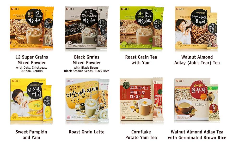 Damtuh Korean 12 Super/15 Multi/Black Grain Mix Powder, Walnut/Almond/Adlay Tea