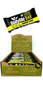 BodyMe Organic Vegan Protein Bars or Vegan Protein Bar or Vegan Protein Snack - Turmeric Lemon