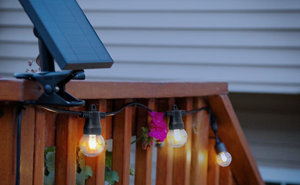 Brightech Ambience Pro Solar Panel, LED Outdoor String Lights 1W G40 Globe Bulbs