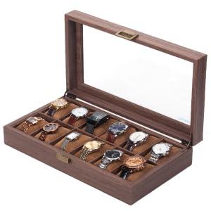 Scatola per orologi in legno con 12 griglie