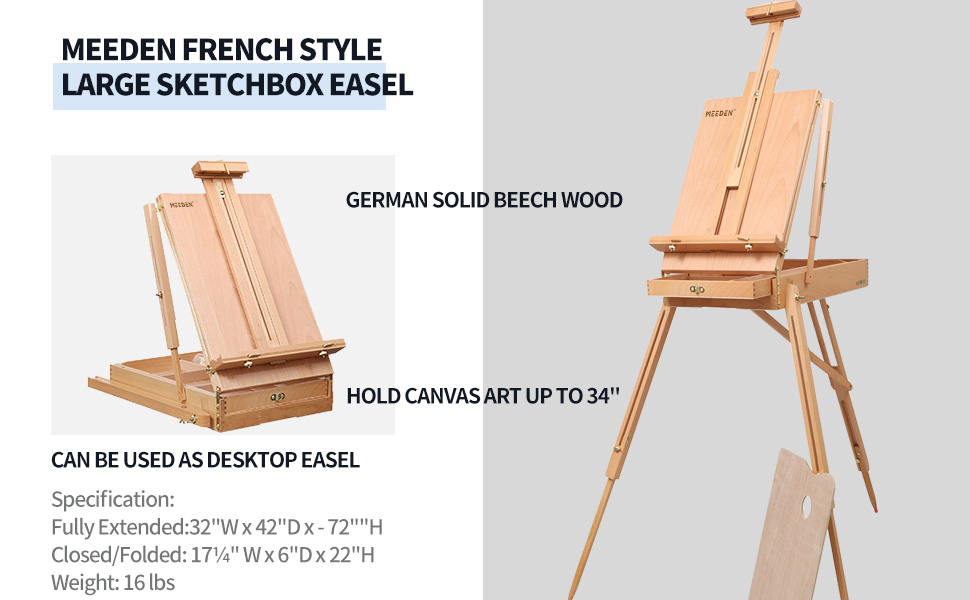 MEEDEN french style large sketchbox easel,desktop easel,solid beech wood,hold canvas art up to 34''