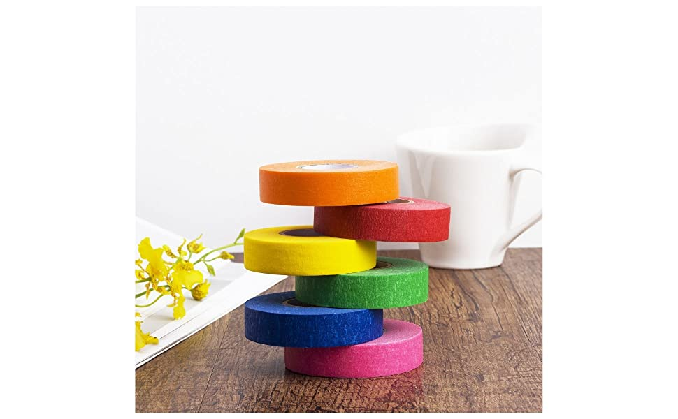 Mr. Pen- Colored Masking Tape, Colored Painters Tape for Arts and Crafts, 6 Pack, Drafting Tape