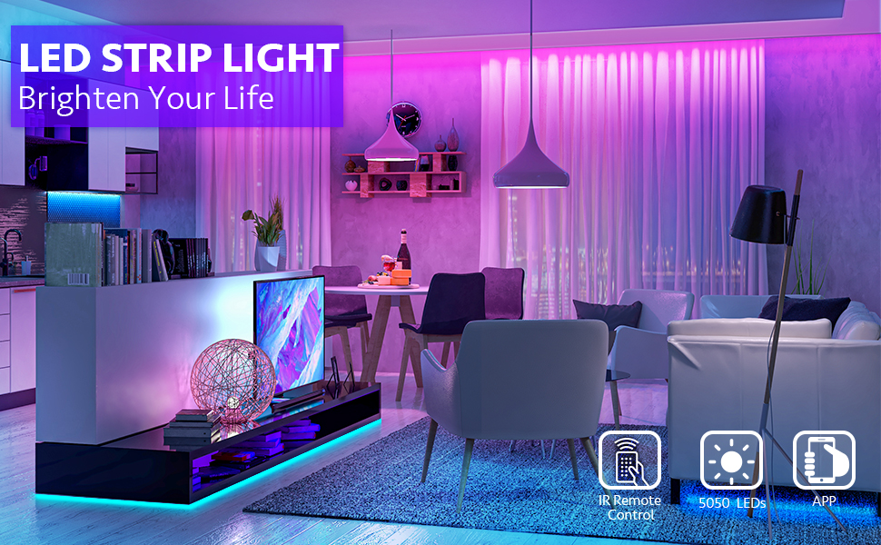 LED Lights Strip Music Sync, App Control with Remote, 600LEDs RGB LED Lights for Bedroom